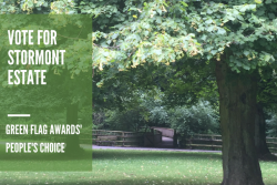Image of Stormont Estate with white text overlay about the Green Flag Awards Peoples choice vote