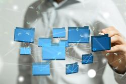 Image representing open data with blue computer folders suspended in front