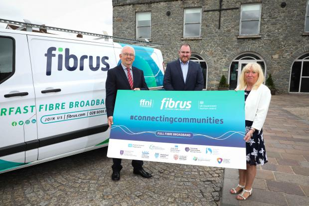 Billy McClean (Project Director, DCMS), Dominic Kearns (CEO, Fibrus) and Julie Erskine (Chairperson, BSO) at the Project Launch