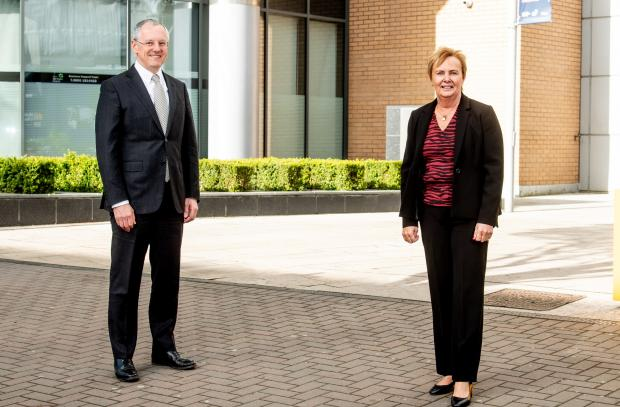 Pictured (L-R) are Kevin Holland, CEO, Invest NI with Jacqui Dixon, Antrim and Newtownabbey Borough Council