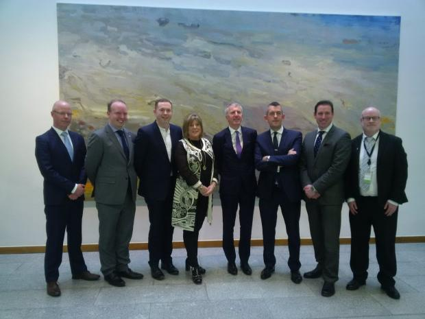 Infrastructure Minister Chris Hazzard and Finance Minister Máirtín Ó Muilleoir today attended the Joint Committee on Jobs, Enterprise and Innovation at the Houses of the Oireachtas in Dublin.