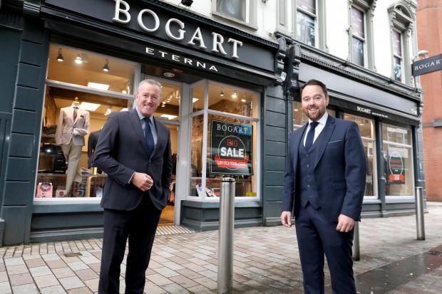 Finance Minister Conor Murphy with Gary Keenan, of Bogart Menswear