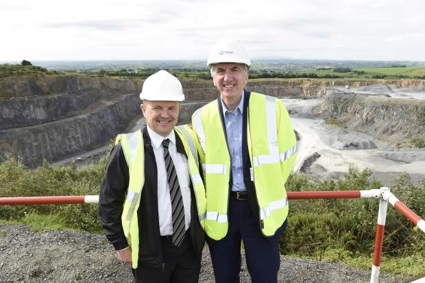 Máirtín Ó Muilleoir, Finance Minister pictured with Gordon Best, Quarry Products Association