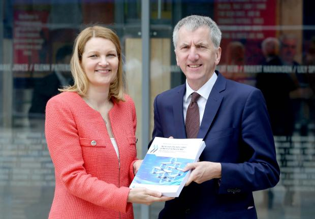 Minister Ó Muilleoir has said that recommendations from OECD's review of public governance will underpin the Programme for Government. Minister Ó Muilleoir is pictured with Ms Mari Kiviniemi, OECD Deputy Secretary-General, at the East Side Visitor Centre