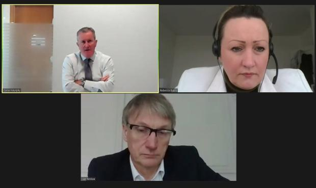 Finance Minister Conor Murphy on a video call with Welsh Finance Minister Rebecca Evans and Scottish Minister for Trade, Innovation and Public Finance, Ivan McKee