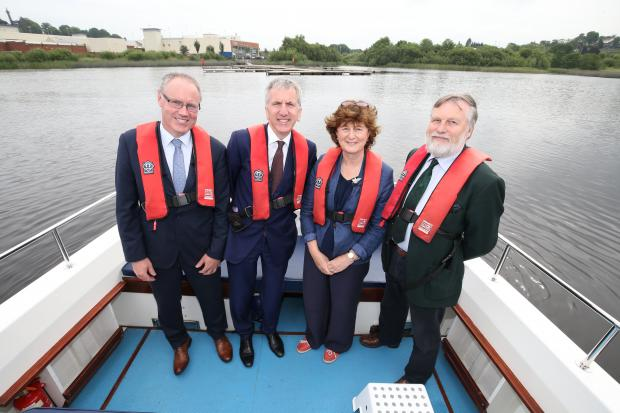 Ó Muilleoir is pictured visiting Waterways Ireland with (L-R): Fermanagh and Omagh council Chief Executive Brendan Hegarty, Waterways Ireland Chief Executive Dawn Livingstone and Forest Service Chief Executive Malcolm Beattie