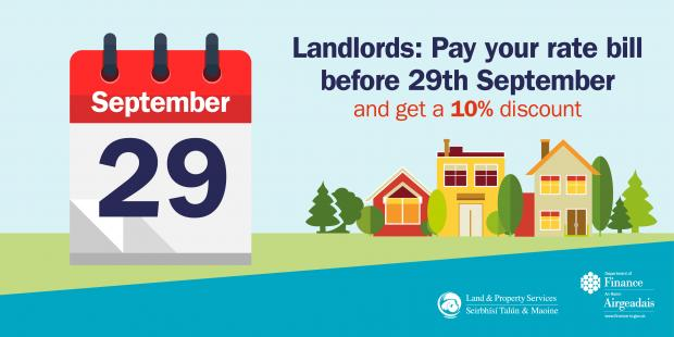 Graphic image to remind landlords to pay rate bills in full by 29 September in order to receive a discount