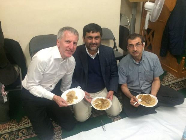 Finance Minister Máirtín Ó Muilleoir pictured on his visit to the Belfast Islamic Centre at the end of fasting on Wednesday to mark Ramadan
