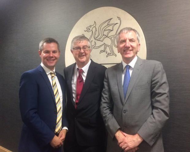 Welsh Government Cabinet Secretary for Finance Mark Drakeford, Scottish Government Finance Secretary Derek Mackay, and Northern Ireland Minister of Finance Máirtín Ó Muilleoir MLA met in Cardiff.