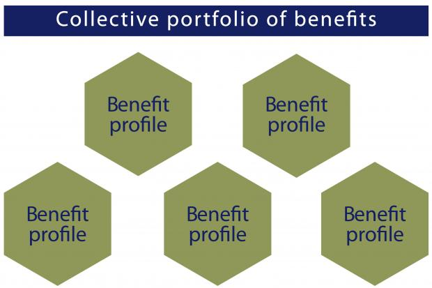 Diagram illustrating the relationship between multiple benefit profiles and the collective portfolio of benefits.