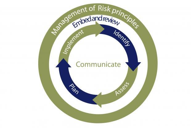 Diagram illustrating typical activities linked to the key principles of risk management.