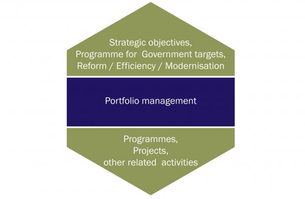Diagram illustrating an example of how portfolio management could be applied.