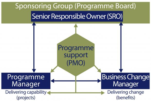 Diagram showing how a Programme Management Office might fit into a typical programme management organisation structure.