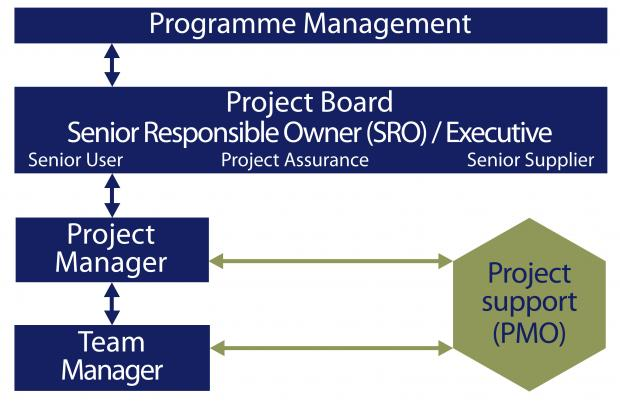 Diagram showing how a Project Management Office might fit into a typical project management structure.