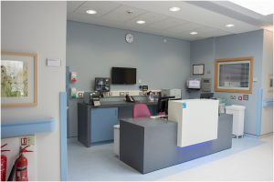 one of the reception areas at Antrim Area Hospital